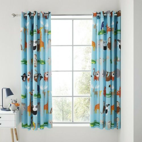 Catherine Lansfield Animal Adventures Blue Eyelet Curtains